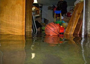 A flooded basement bedroom in Wakarusa